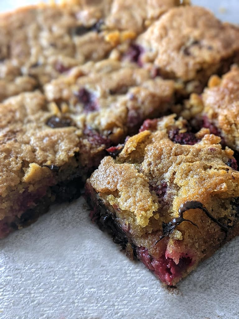 Gluten free dairy free easy chocolate cherry blondie recipe