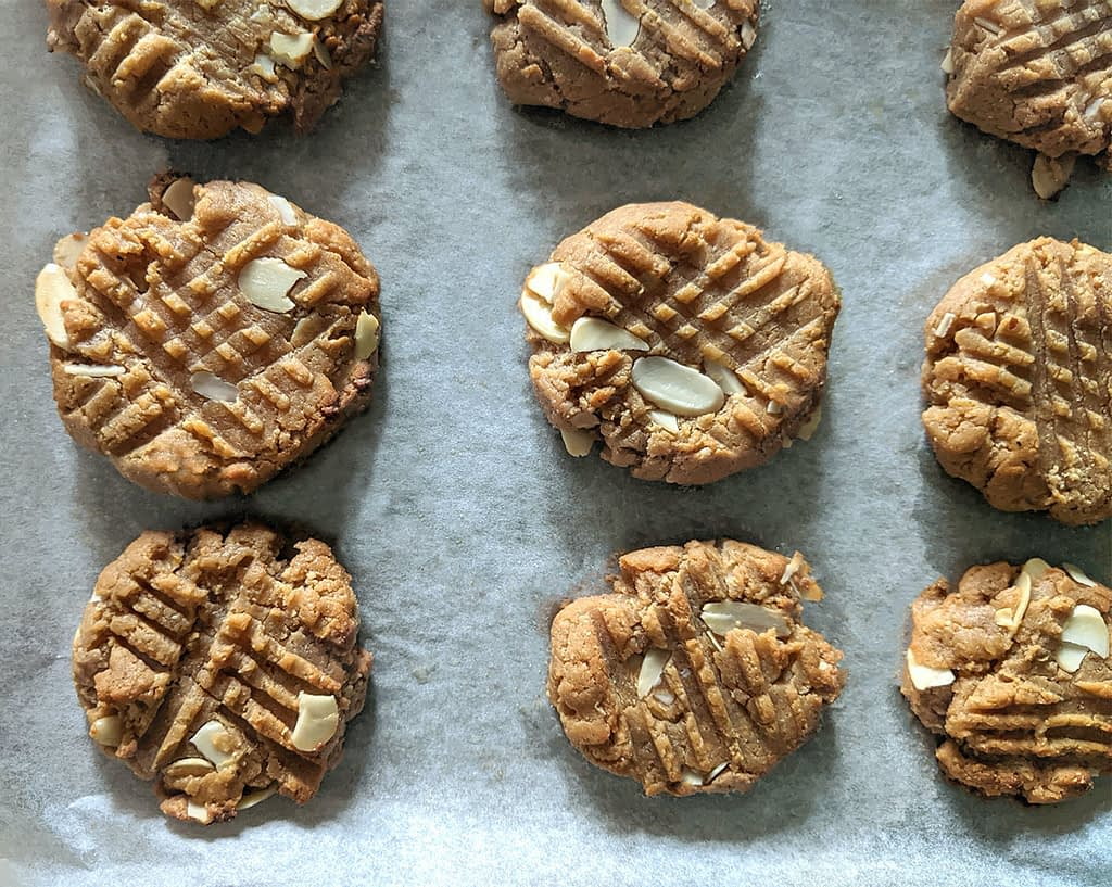 easy 3-ingredient peanut butter cookies on baking tray
