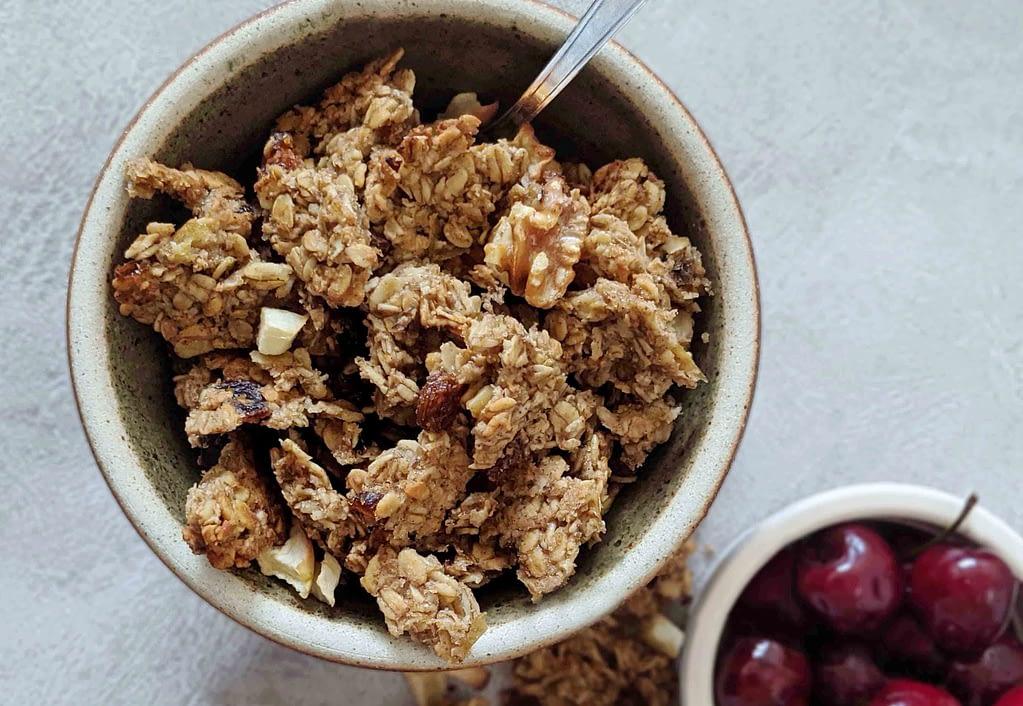 gluten free vegan apple date granola bowl