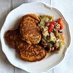Plate of gluten-free stove top butternut squash scones with vegetable stirfry